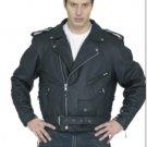 Mens Leather Biker Motorcycle Jacket American Eagle emblem