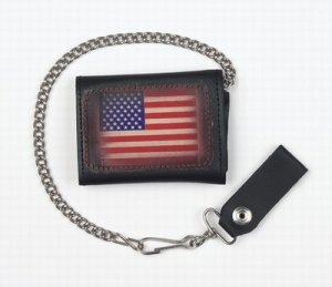 Motorcycle Biker Trifold Chain Leather Wallet USA Flag