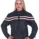 Ladies Motorcycle Biker Leather Jacket Pink Stripes WOW