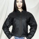 Ladies Motorcycle Jacket w/ Braid Z/O Lining Heavy Duty Soft Leather