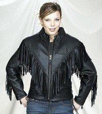 Ladies Naked Cowhide Motorcycle Jacket w/ Braid & Fringes, Side Laces & Z/O Lining