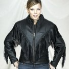 Ladies Heavy Duty Soft Leather Motorcycle Jacket w/ Braid, Fringes, Side Laces & Z/O Lining