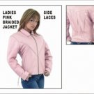 Ladies Heavy Duty Soft Pink Leather MC Jacket w/ Z/O Lining & Braid Gather Sides