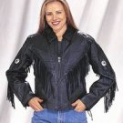 Ladies Naked Cowhide Jacket w/ Diamond, Z/O Lining, Sidelaces & Gather Back