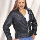 Ladies Heavy Duty Soft Leather Motorcycle Jacket w/ Z/O Lining