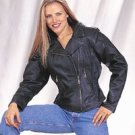 Ladies Naked Cowhide Jacket w/ Braid, Lining & Gather Sides