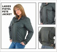 Ladies Soft Leather Pispol Pete Jacket w/ Z/O Lining, Braided Front & Back, and Under Each Arm