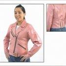 Ladies Soft Leather Pink MC Jacket w/ Z/O Lining