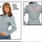 Ladies Genuine Leather Denim Jacket w/ Studs