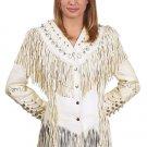 Ladies Off-White Leather Jacket w/ Beads, Studs, Bone & Fringe w/ Snaps