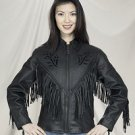 Ladies Black Rose Inlay Jacket w/ S/L & Z/O Lining, Heavy Duty Soft Leather