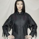 Ladies Naked Cowhide Purple Rose Inlay Jacket w/ S/L & Z/O Lining