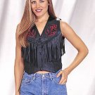 Ladies Red Rose Inlay Vest w/ Side Laces & Nylon Lining