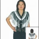 Ladies White & Black Vest w/ Beads, Bone, Braid & Fringe w/ Snaps