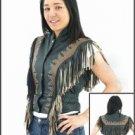 Ladies Black & Brown Vest w/ Beads, Bone, Braid & Fringe w/ Snaps