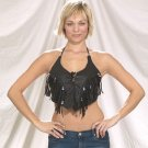 Ladies halter top with fringes and beads, laces on front
