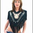 Ladies Poncho w/ Beads & Fringes