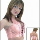 Ladies Pink Leather Halter w/ Laces in the Front