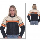 Ladies Leather Racer Jacket Cream Upper Half w/ Red Stripe Across Chest, Back & Around Sleeves, 2 Si