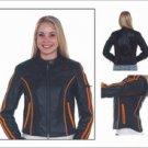 Ladies Leather Racer Jacket w/ Double Orange Stripes Down Sleeves, Orange Stripes on Front & Back, G