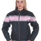 Ladies Leather Racer Jacket w/ A Pink Stripe & Double Silver Stripes w/ Reflector, 2 Side Pockets, V