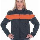 Ladies Soft Leather Jacket w/ Orange Stripe