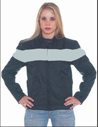 Ladies Soft Leather Jacket w/ Silver Stripe