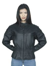 Ladies Naked Cowhide Racer Jacket w/ Airvents & Z/O Lining