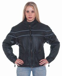 Ladies Leather Racer Jacket w/ Double Reflector Stripes w/ Z/O Lining, Front & Back Airvents & Verti