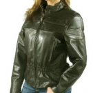 Ladies Retro Brown Cowhide Racer Jacket w/ Airvents & Z/O Lining