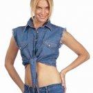 Ladies Dark Blue Denim Sleeveless Shirt w/ Buttons