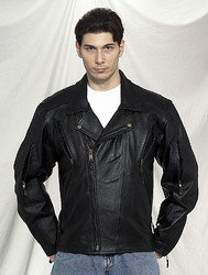 Men's Heavy Duty Soft Leather MC Jacket Airvent Front, Back and Arms, Zipout Lining, Vertical Gather