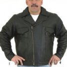 Mens Racer Jacket Airvents, Gather Sides, Z/O Lining Cowhide Leather, Double Zipper on Front as Show