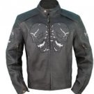 Mens Motorcycle Biker Genuine Leather Night Reflective Skull bones Patch Racer Jacket