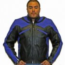 Mens Blue & Black Premium Naked Cowhide Leather Racer Jacket w/ Airvents & Z/O Lining