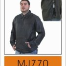 Mens Pullover Leather Shirt w/ Laces on Front, Side Zippers
