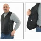 Mens Plain Vest Black, Side Laces, 2 Front, 2 Inside Pockets, Naked Cowhide Leather