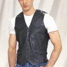 Mens Leather Vest w/ Braid & Side Laces