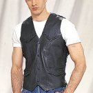 Mens Vest w/ Braid, S/L, 2 Front, 2 Inside Pockets, Naked Cowhide