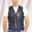 Mens Vest w/ Side Laces, 2 Front, 2 Inside Pockets, Cowhide Leather