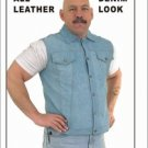 Mens Genuine Leather Vest w/ Denim Look, Snaps, Classic Collar