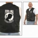 Mens Plain Vest Black w/ POW Logo on Front & Back, Side Laces, 2 Front, 2 Inside Pockets, Top Grade