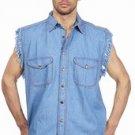 Mens Denim Blue Sleeveless Shirt w/ Buttons