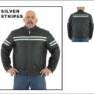 Mens Leather Racer Jacket w/ Silver Colored Stripes, Reflector Stripe, Front & Back Airvents & Z/O L