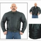 Mens Leather Motorcycle Jacket w/ Z/O Lining