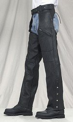 Split Cowhide Chaps w/ 3 Pockets Adjustable Gather in Thigh w/ Mesh Lining