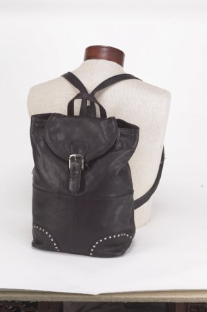 Ladies Back Pack w/ Studs & Buckle Fold-Over Flap