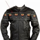 Mens Motorcycle Biker Genuine Leather Night Reflective Flame Skull bones Racer Jacket