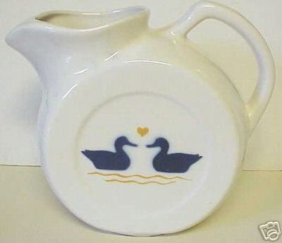 Pottery Round Disk Pitcher Milk Jug Cobalt Ducks Heart
