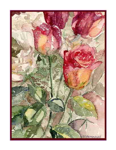 Set of Eight Watercolor Valentine Notecards Note Cards